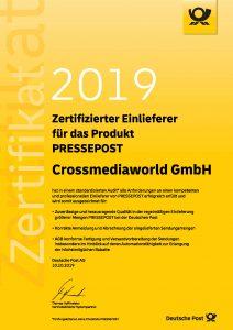 Zertifizierter Einlieferer Pressepost 2019 Crossmediaworld, Stuttgart