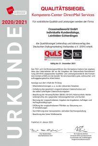Qualitätssiegel des DDV für Direct Mail Services für Crossmediaworld, Stuttgart