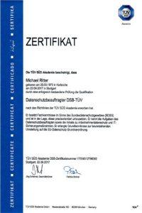 Zertifikat Datenschutzbeauftragter Michael Ritter TÜV