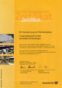 Zertifikat DV-Freimachung mit Premiumadress Crossmediaworld, Stuttgart