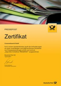 Zertifikat Pressepost Crossmediaworld, Stuttgart