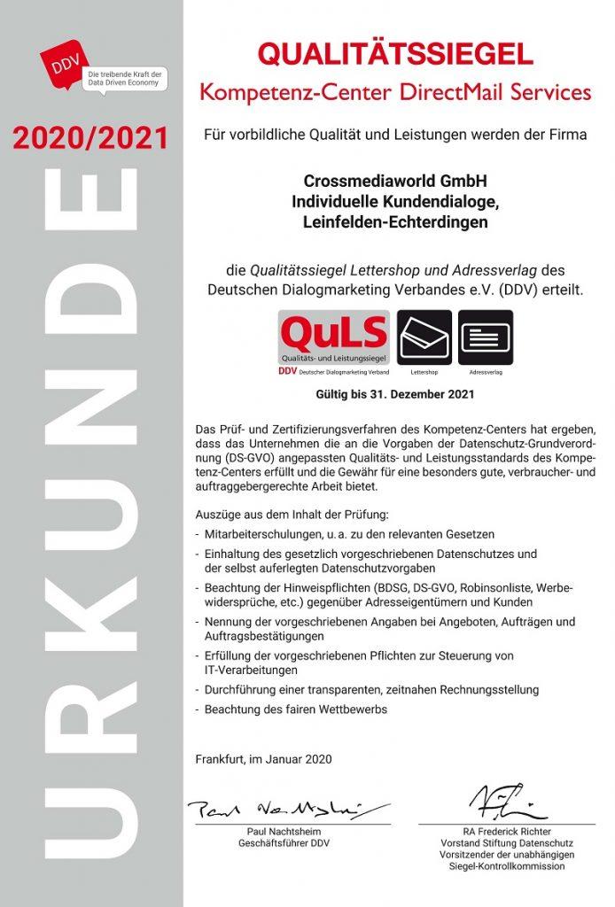 Qualitätssiegel Lettershop und Adressverlag des DDV für Crossmediaworld, Stuttgart