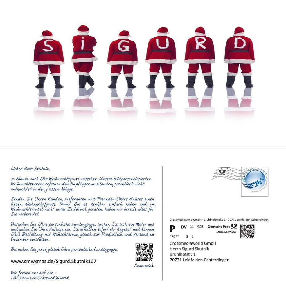 Personalisierung Postkarte Crossmediaworld, Stuttgart