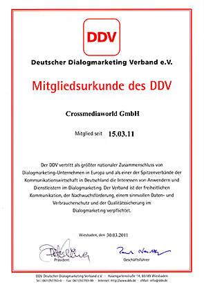 Mitgliedsurkunde DDV - Crossmediaworld, Stuttgart