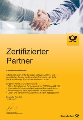 Zertifizierter Partner der Deutschen Post - Crossmediaworld, Stuttgart