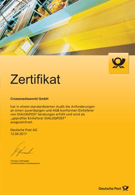 Zertifikat geprüfter Einlieferer Dialogpost 2017 Crossmediaworld, Stuttgart