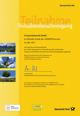 Teilnahmebescheinigung GOGREEN Crossmediaworld, Stuttgart