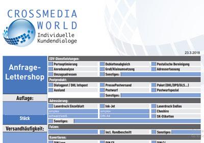 Anfrage Lettershop Crossmediaworld, Stuttgart