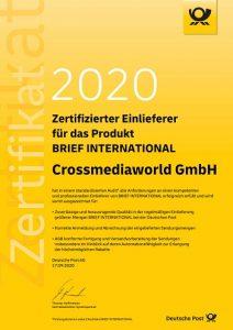 Zertifikat BRIEF International, Crossmediaworld, Stuttgart